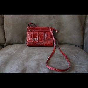 BRIGHTON Dark Red Snakeskin Small Crossbody !